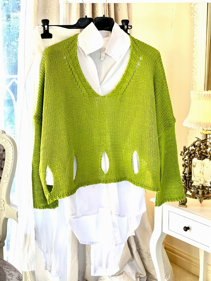 New Season Designer Inspired Layering Knit Lime