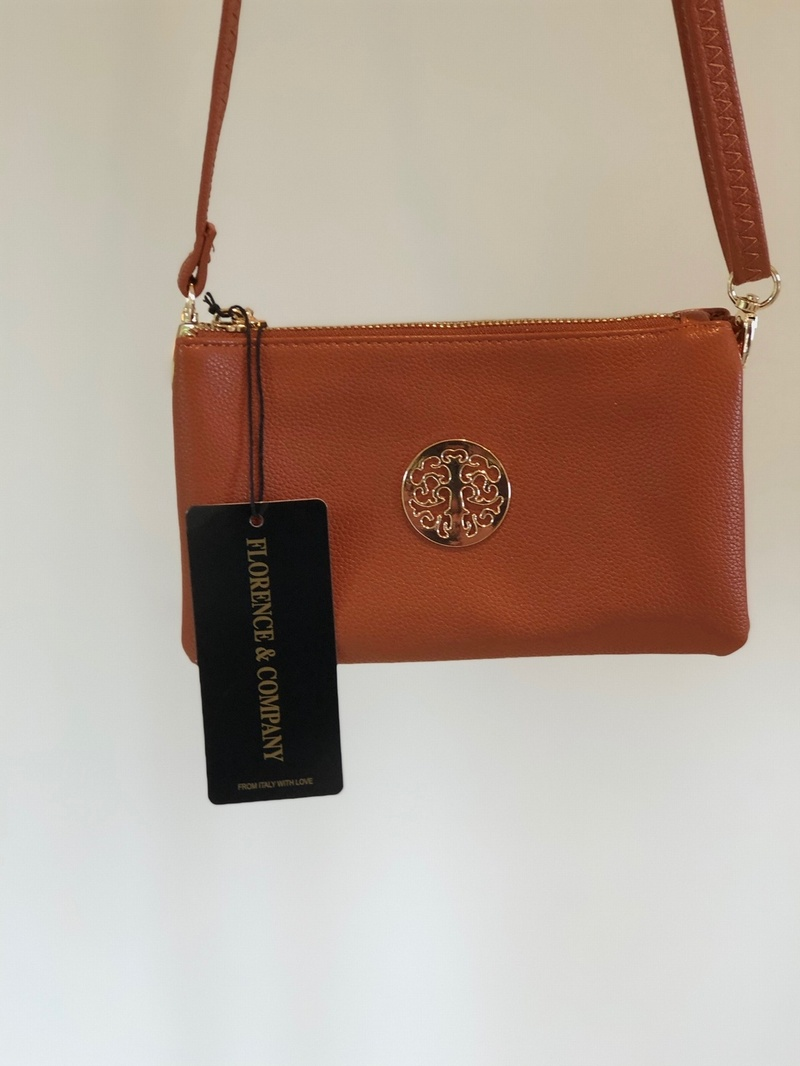 Designer Inspired Cross Over Body  Purse  Tan