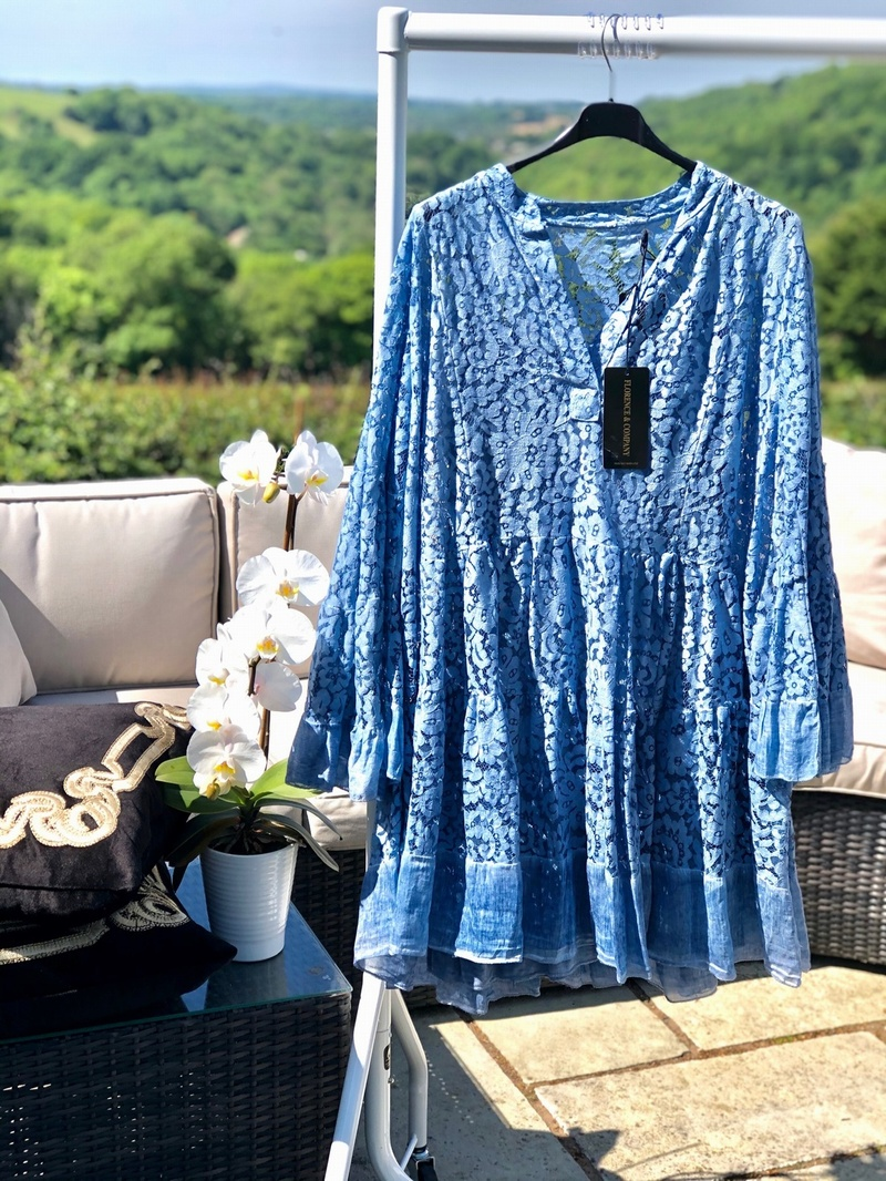 Italian Lace Tunic Dress Vintage Blue