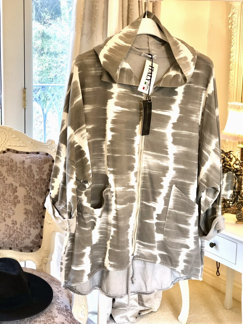 Blurred Lines Hood Tunic Jacket Dove Grey