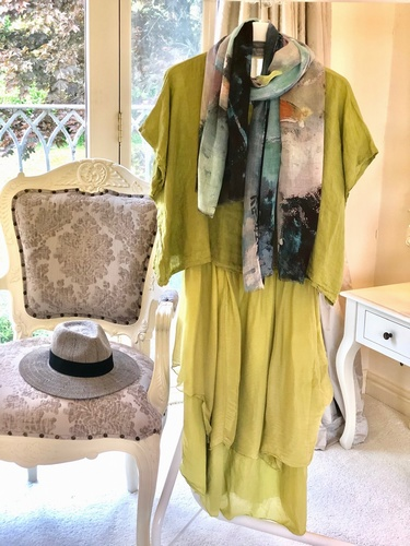 Linen & Silk Dress Citrus Lime