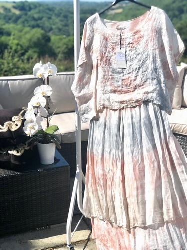 Linen Silk Dress peach Grey