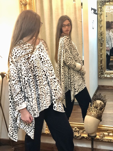 Leopard oversized Tunic Black/White
