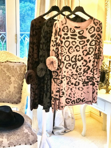 Soft Touch Leopard Print Top Charcoal Grey