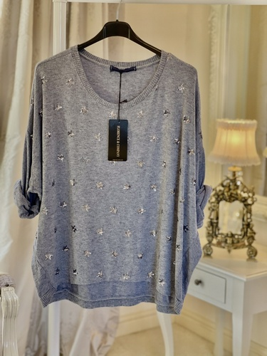 New Season Beautiful Soft Touch Sequin Star Knit Blue Jean